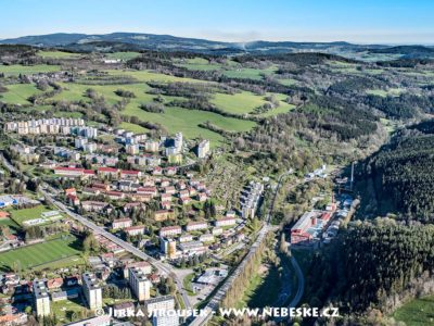 Vimperk – sídliště a cesta směr Strakonice J1467